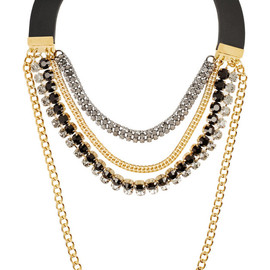 MARNI - Leather and crystal multi-strand necklace
