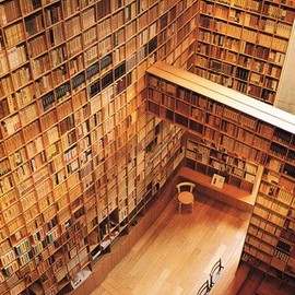 Library designed by Tadao Ando for the Shiba Ryotaro Memorial Museum in Osaka