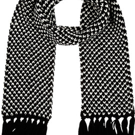 SAINT LAURENT - Black & White Chevron Scarf