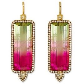 Jemma Wynne - Watermelon Tourmaline, Diamond, and 18K Gold Earrings