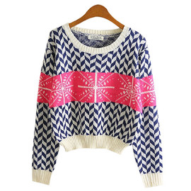 Retro Snowflake Wavy Stripe Print Knit Sweater