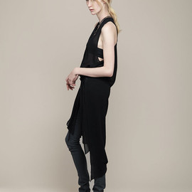 HELMUT LANG - BELTED CHIFFON DRESS W/ SLITS