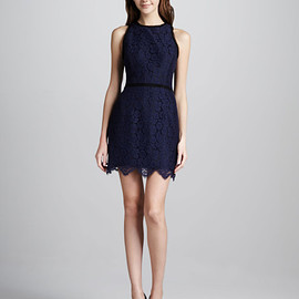 Milly - Claudia Scalloped Lace Dress in Blue (navy)