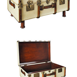 AM - Authentic Models  - French Trunk Coffee Table - Ivory