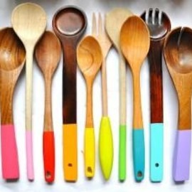 Dip Dye Wooden Cooking Utensils for a fun fresh look