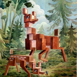Laura Bifano - Animal Pixel Series- Deer-13 x 19 print