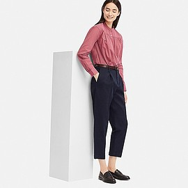 UNIQLO - WOMEN COTTON TAPERED ANKLE-LENGTH PANTS, NAVY, large