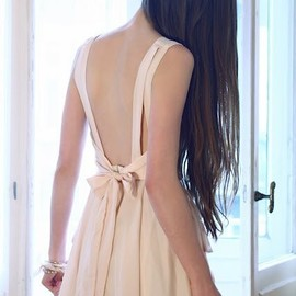 Romwe - Backless Nude Shift Dress