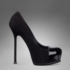 Yves Saint Laurent - YSL Trib Too High Heel Pump in Black Suede and Patent Leather
