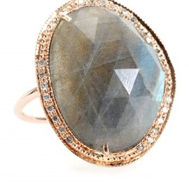 Jacquie Aiche - 14KT ROSE GOLD PARTIAL WHITE DIAMOND LABRADORITE BEZEL RING - mytheresa.com GmbH