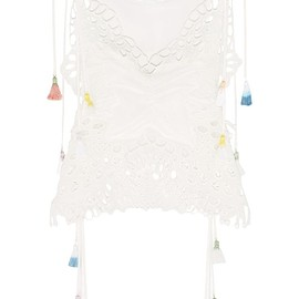Chloé - Tasseled broderie anglaise and tulle-paneled linen-blend camisole