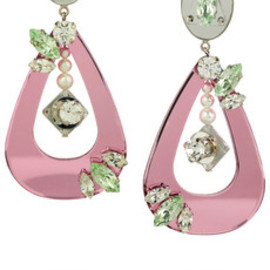 miu miu - Swarovski crystal and plexiglass clip earrings