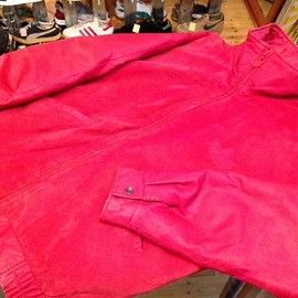 """adidas - 「<used>80's adidas LEATHER JACKET red/red""""made in KOREA"""" size:S 35800yen」完売"""