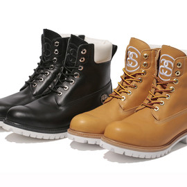 STUSSY - STUSSY × Timberland Leather 6″ Zip Boot | Black, Wheat |