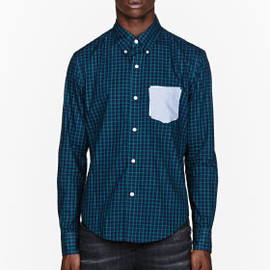 BAND OF OUTSIDERS - BAND OF OUTSIDERS Navy plaid contrasting pocket shirt