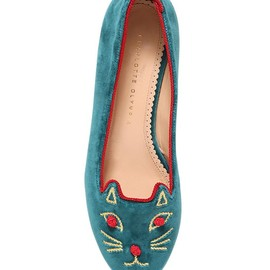 Charlotte Olympia - FW2014 10MM KNOT A KITTY VELVET LOAFERS