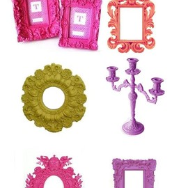 rococo - Pink Frames From Pottery Barn, Regency Painted Mirror and Rococo Painted Mirrors
