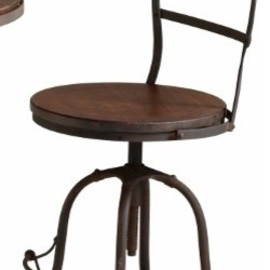 Round Raw Wood and Steel Industrial Adjustable Chair transitional furniture