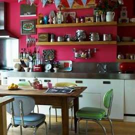 bohemianhomes:Bohemian Homes: Pink Kitchen