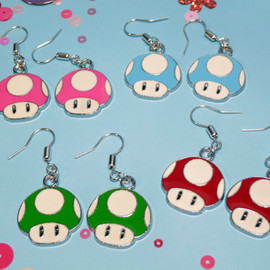 Mario Mushroom Earrings in four colours (listing price is for one)