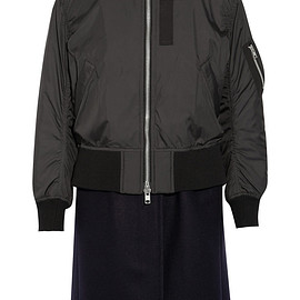 sacai luck - shell and wool-blend coat