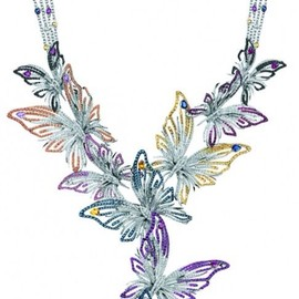 DAMIANI - Butterfly Necklace : WHITE GOLD, RUBIES,SAPPHIRES (CT 14,53) AND BLACK AND WHITE DIAMONDS (CT 8,58)