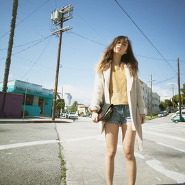 (vintage sweater and clutch, H&M suede top, One Teaspoon shorts, Alexander Wang boots)