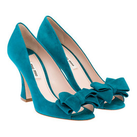 miu miu - Suede Open Toe Bow Pumps