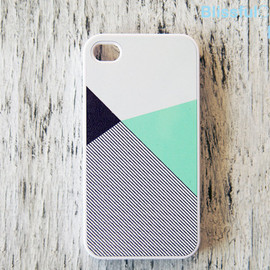 BlissfulCASE - iphone 4 case - mint black color block with stripe