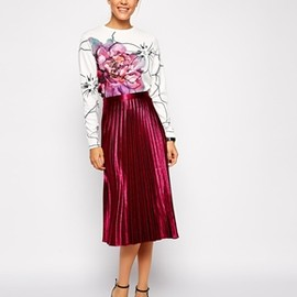 ASOS - Pleated Midi Skirt in Metallic