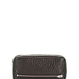 ALEXANDER WANG - ALEXANDER WANG FUMO CONTINENTAL WALLET IN  BLACK PEBBLE LEATHER WITH ROSEGOLD