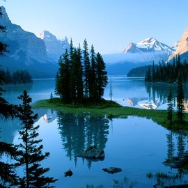 Jasper, CANADA - Spirit Island sits on Maligne Lake in Jasper National Park
