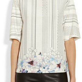 3.1 Phillip Lim - Embellished Printed Silk and Cotton Blend Top in White - Lyst