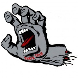 Santa Cruz - Screaming Hand Sticker - Grey - Small
