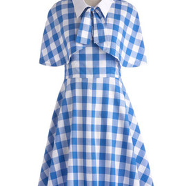 Modcloth - Performance Picnic Dress - Blue, White, Checkered / Gingham, Buttons, Tie Neck, Casual, A-line, Spaghetti Straps, Sweetheart, Daytime Party, Vintage Inspired, 50s, Summer