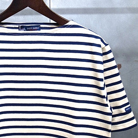 SAINT JAMES - OUESSANT SHORT SLEEVES / ECRU×MARINE