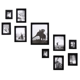 ADECO - 10 Piece Black Wood Picture Photo Hanging Frame Set Home Decor Wall Art New Year Gif