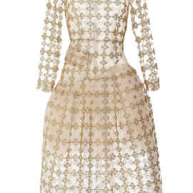 SIMONE ROCHA - Gold Floral Check Long Sleeve Dress