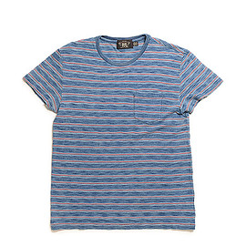 RRL - Striped Cotton Pocket T Shirt-Indigo Multi Stripe