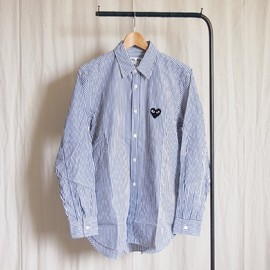 PLAY COMME des GARCONS - 綿ブロードStripe Shirt (黒エンブレム) #white/blue