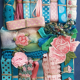 Crazy Quilt Embellishment Assortment - Turquoise & Pink