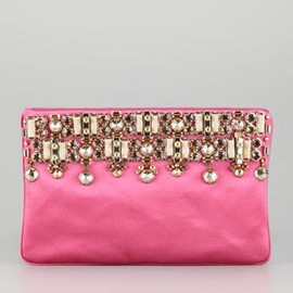 PRADA - Jeweled Satin Clutch Bag Fuchsia