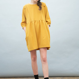 THE WHITEPEPPER - Frill Panel Insert Smock Dress Mustard