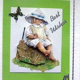 Luulla - First Wicket Hand-Crafted 3D Decoupage Card - Best Wishes (1414)