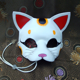 Merimask - Lucky Cat Mask... original handmade leather cat mask
