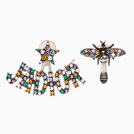 Dior - J'Adior Asymmetric Earring with Multicolor Crystal Bee Star Silver