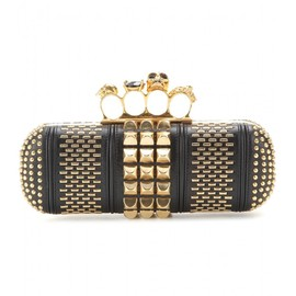 Alexander McQueen - SKULL KNUCKLE EMBELLISHED BOX CLUTCH WITH LEATHER
