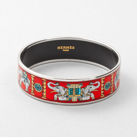 HERMES - Wide Red Elephants Enamel Bracelet 70