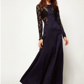 sexy Black lace blue satin backless splicing long sleeve dress skirt