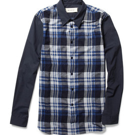 MARNI - Marni Contrast-Sleeve Plaid Shirt